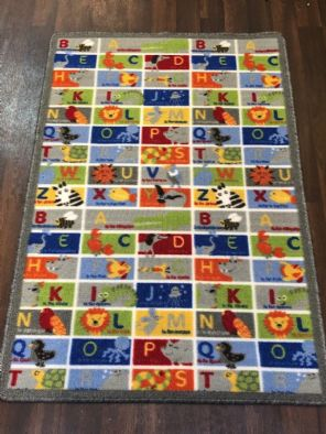 NEW ANIMAL ABC EDUCATIONAL SCHOOL HOME MAT RUG 80X120CM MULTICOLOUR NON SLIP